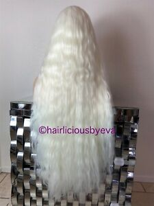 Technical studies White Wig Wavy Hair Middle Part Extra Long 32 ...