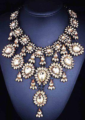 Fashion pentand Crystal Bib Statement charm chunky colorful collar Necklace 917