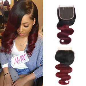 1Pcs-1b-99j-4-4-Lace-Closure-Free-Part-Body-Wave-Brazilian-Virgin-Human-Hair