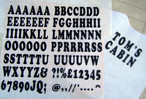 a-Z Letras y 10 números de impresión personalizadas. Transferencia de hierro en 35mm Negro 77