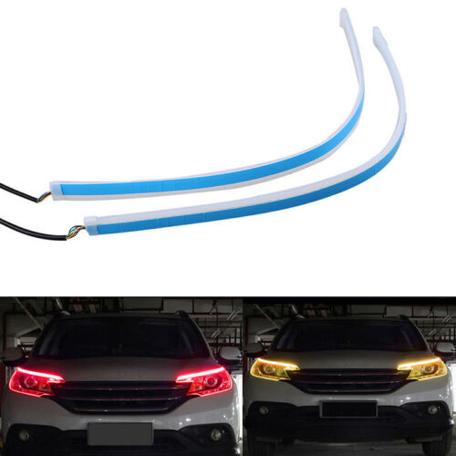 2X 60cm LED Switchback Headlight Sequential DRL Light Strip Tube Red/&Yellow UWUK