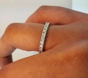 Womens-0-50-CT-Diamond-Bridal-Wedding-Band-Anniversary-Ring-14k-Solid-White-Gold