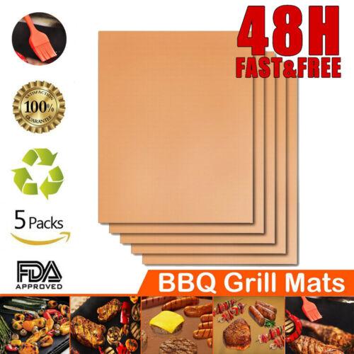 5er Set Antihaft Grillmatte Backmatte Grillwerkzeug BBQ Grillplatte Küchengeräte
