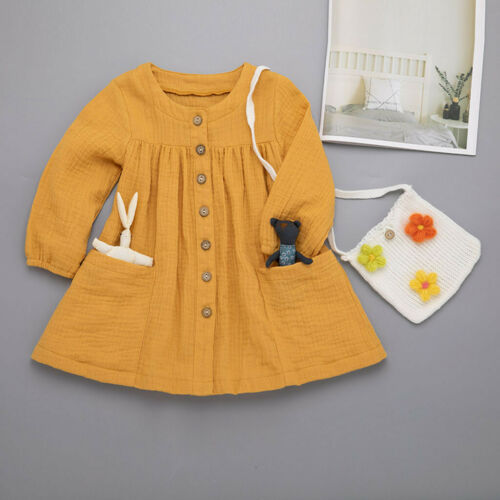 Toddler Kids Baby Girls Autumn Long Sleeve Solid Ruffled Casual Princess Dresses
