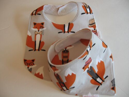 Baby Boy Bib//Burp Cloth Gift Set//Create Your Own// Foxes//Baby Shower Gift