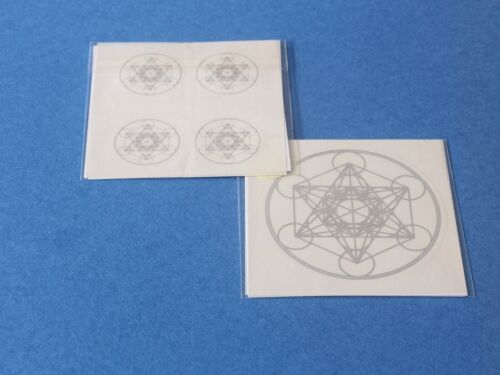 5er Set Erzengel Metatron Sticker Aufkleber für PC Handy Laptop Notebook silber