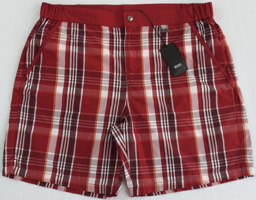 Men's HUGO BOSS Red White Plaid Swim Trunks Swimsuit XL Extra Large NWT NEW