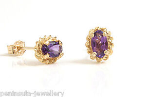 9ct-Gold-Oval-Amethyst-Stud-Earrings-Gift-Boxed-Studs-Made-in-UK