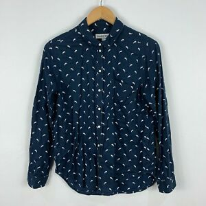 Country-Road-Womens-Button-Shirt-Top-XS-Relaxed-Fit-Blue-Paisley-Long-Sleeve