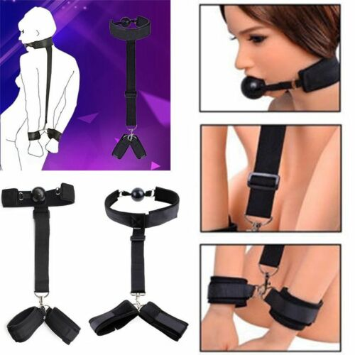 Mouth Stuffed Ball Gag Adult Game Flirting Toy Neck /& Handcuff Toy Adult Toys US