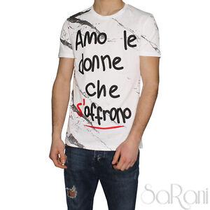 T-shirt Uomo Akiro' Maglia Girocollo Bianco Manica Corta Cotone Stampa SARANI
