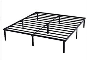 Heavy Duty 14 Inch  Slat Bed Frame Multiple Size Metal Platform Black Steel
