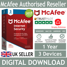 McAfee Internet Security 2018 / 2019 3 Devices 1 Year *5 Min Delivery - Email