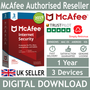 McAfee Internet Security 2019 3 Multi Devices 1 Year *5 Minute Delivery by Email 731944706047