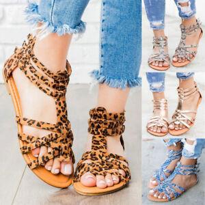 Women's Leopard Print Gladiator Sandals