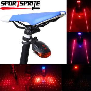 5-LED-2-Laser-Fahrrad-Licht-hinten-Schwanz-Blinklicht-Sicherheit-Warnung-Lampe-Nacht