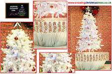 NEVICANDO Albero di Natale 1.7 M Argento Vaso di fiori base | Bellissima Gonna Con Motivo