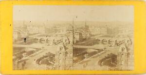 Francia Parigi Vista A Vol. D'Oiseau, Foto Stereo Vintage Albumina Ca 1860