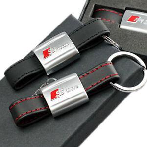 For Audi Keychain Car Black Leather Strap Key Chain Sline Metal Key - Audi keychain
