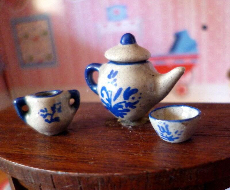 RARE Vintage Diane Foster Artist Made Teapot Set Dollhouse Miniatures
