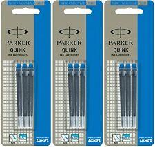 9 X Parker Quink Ink Cartridges Blue Colour for Fountain Pens New Original
