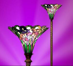 Torchiere floor lamp tiffany style stained glass floral rose design image is loading torchiere floor lamp tiffany style stained glass floral aloadofball Choice Image