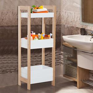 Badregal Korbregal Standregal Badezimmer Regal Bambus 3 Staufächer ...