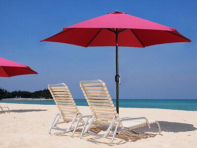 9' Aluminum Outdoor Beach Patio Umbrella Crank Tilt Sunshade Cover Yard Burgundy