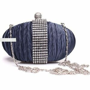 Stylish-Navy-Diamante-Wedding-Ladies-Party-Prom-Evening-Clutch-Hand-Bag-Purse