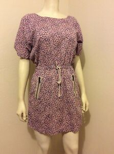 OBEY-FLORAL-PRINT-BOAT-NECK-SHORT-SLEEVES-SEA-SIDE-DRESS-SIZE-XS