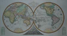 Große Weltkarte - Mappemonde en deux hemispheres - Decourchant - Original 1839