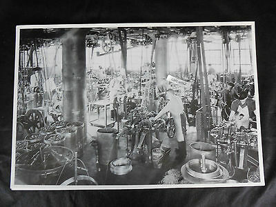 "12 By 18"" Black & White Picture - Old Machine shop with all belt driven machines"