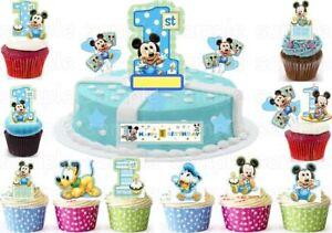 Micky-Maus-Mouse-Essbar-Tortenaufleger-NEU-Party-Deko-Muffinaufleger-1-Geburtstag