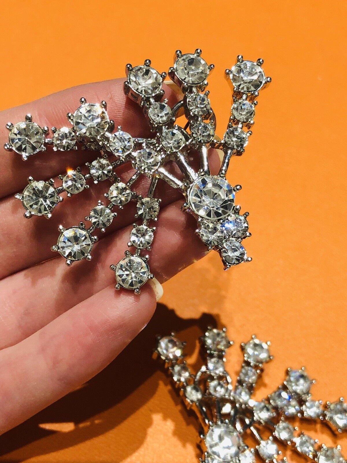 Arnold Scaasi Silver Tone Crystal Fan Earrings - image 2