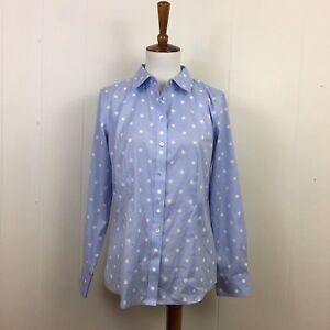 ac4d758c86 Image is loading Talbots-Polka-Dot-Button-Down-Long-Sleeve-Shirt-