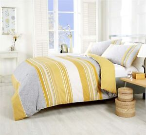 HAVANA PAISLEY GEOMETRIC STRIPED YELLOW GOLD COTTON BLEND KING SIZE DUVET COVER