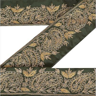 Knowledgeable Vintage Sari Border Antique Hand Embroidered Indian Trim Sewing Green Lace