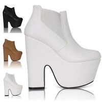 NEW LADIES WOMENS CHUNKY HEEL PLATFORM DEMI WEDGE CHELSEA ANKLE BOOTS SHOES