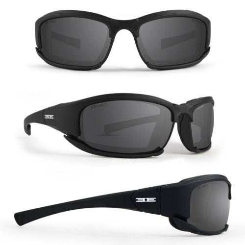 Epoch Hybrid Padded Motorcycle Sunglasses Goggles Black Frame Smoke Lens