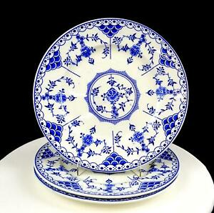 RIDGWAY-LAWLEY-ENGLAND-BLUE-DANISH-BLUE-amp-WHITE-3PC-9-7-8-034-DINNER-PLATES-1955-62