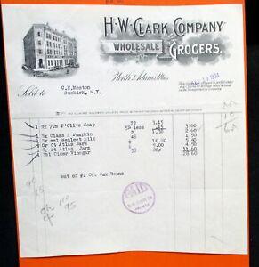 09-18-1934 H W CLARK WHOLESALE GROCERS North Adams Mass Bill Head