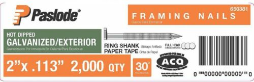 30 Galvanized Ring Shank Paper Tape 2000-Count Paslode Framing Nails 2 in