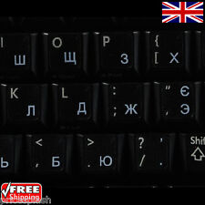 Ukrainian Russian Transparent Keyboard Stickers With White Letters for Laptop PC