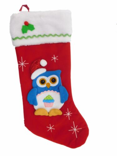 Red Felt Owl Santa Claus Christmas Stocking