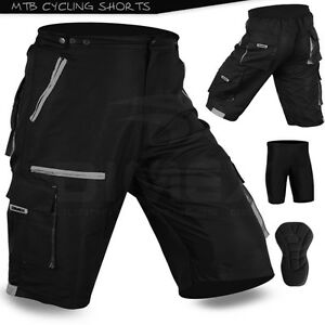 MTB-Cycling-Short-Off-Road-Cycle-CoolMax-Padded-Liner-Shorts-Black-Grey-M-L-XL