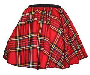 Ladies-Red-Royal-Stewart-Tartan-18-034-Long-Skater-Skirt-Scottish-Highlands