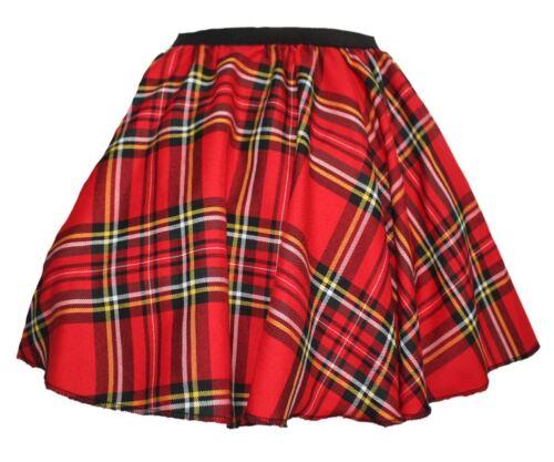 """Ladies Red Royal Stewart Tartan 18/"""" Long Skater Skirt Scottish Highlands"""