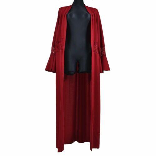 Damen Cardigan Trench Sommer Mantel Kleid Spitze Lang S M L XL Rot Weiß Schwarz