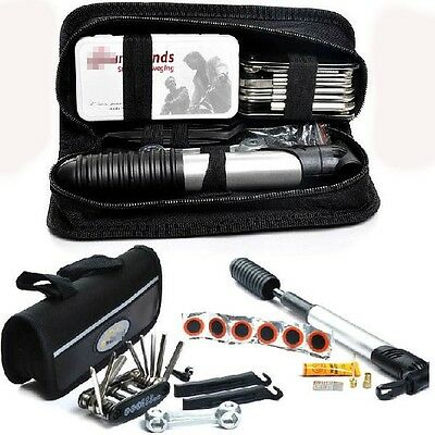 Bicycle Bike Cycling Fix Tools Kit Set with Pump&Bag Pouch for Bike Repairing