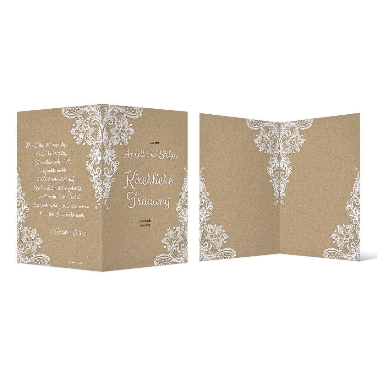 Kirchenheft Hochzeit individuell Klappkarte - Rustikal Kraftpapier Look | Erlesene Materialien  | Deutschland